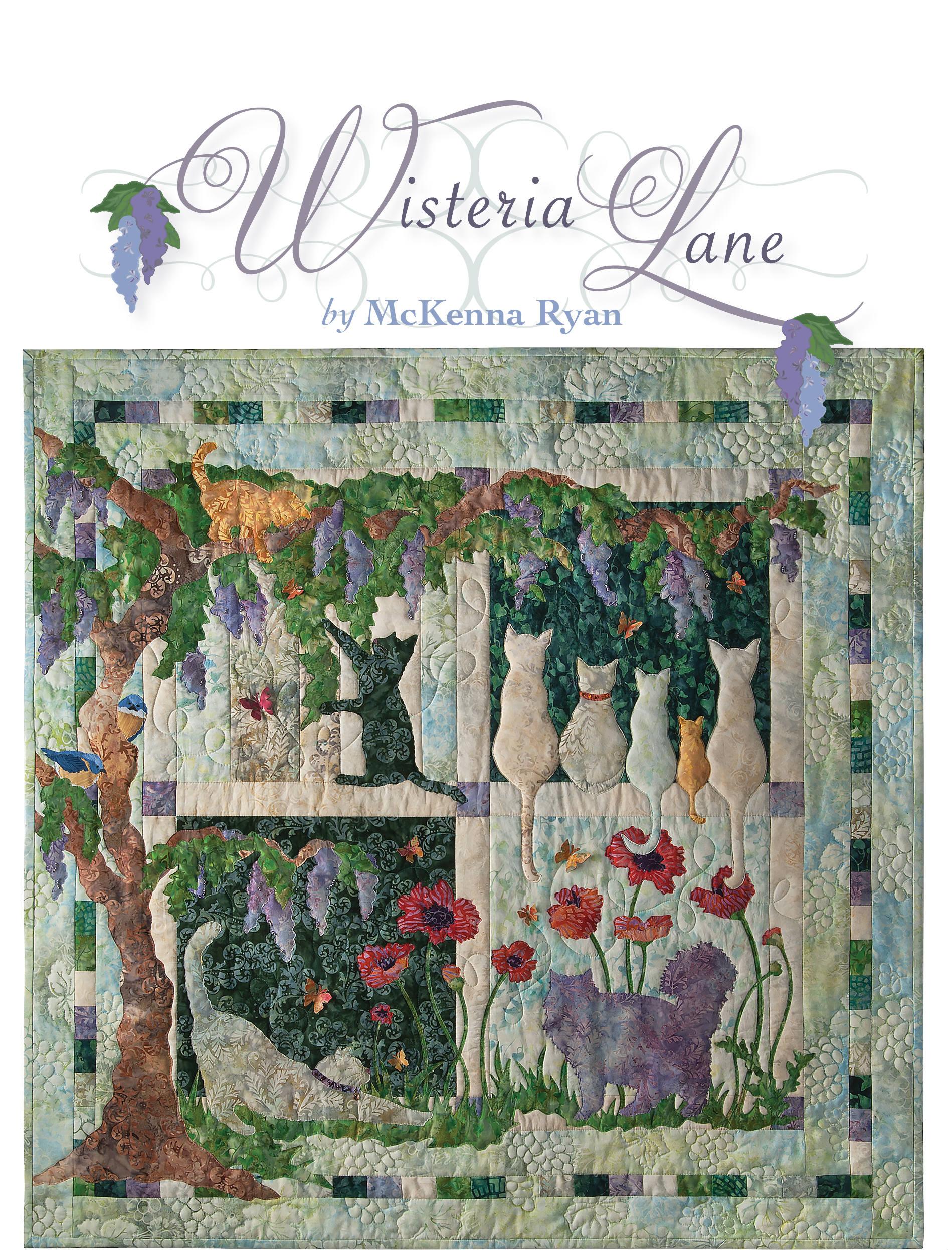 Cat Themed Applique Project Cat Art Quilt Set In Beautiful Garden